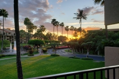 Our nightly Lanai view of the fountains and Hawaiian Sunsets over Kam III