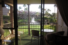 Looking outside to the fountains