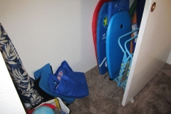 Beach items, toys, chairs, boogie boards
