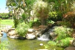 One of six waterfalls near the pool