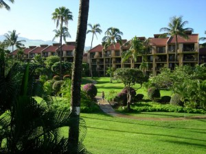 Kamaole Sands inner court yard with views to Mt Haleakala