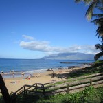 Kamaole Beach III and view to Lanai island and W. Maui mountains