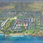 Aerial View showing our resort Kamaole Sands and favorite beach Kamaole III